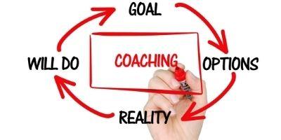 Dry erase marker writes the word coaching